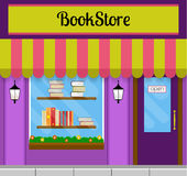 Bookstore building front. Bookshop facade in flat style. EPS10 vector illustration of city public building square architecture. Small business store design Stock Photos