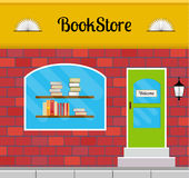 Bookstore building front or facade. Bookshop facade in flat style. EPS10 vector illustration of city public building square architecture. Small business store Stock Image