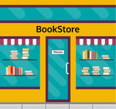 Bookstore building front with glass vitrine. Bookshop facade in flat style. EPS10 vector illustration of city public building square architecture. Small Stock Image