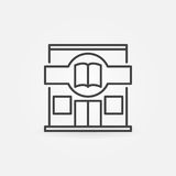 Bookstore building icon. Vector books shop concept symbol in thin line style Stock Photos