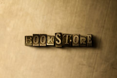 BOOKSTORE - close-up of grungy vintage typeset word on metal backdrop. Royalty free stock illustration.  Can be used for online banner ads and direct mail Stock Image