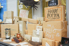 Bookstore display in Norwich,England. Window at Bookstore in Norwich advertises the new book on the Harry Potter series Stock Image