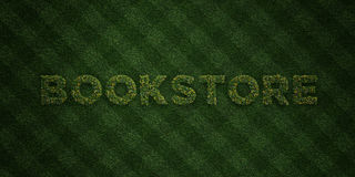 BOOKSTORE - fresh Grass letters with flowers and dandelions - 3D rendered royalty free stock image. Can be used for online banner ads and direct mailers Stock Photos