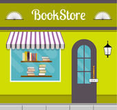Bookstore front in flat style. Bookshop facade in flat style. EPS10 vector illustration of city public building square architecture. Small business store design Stock Photo
