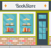 Bookstore front in flat style. Bookshop facade in flat style. EPS10 vector illustration of city public building square architecture. Small business store design Stock Photos