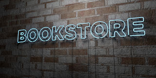 BOOKSTORE - Glowing Neon Sign on stonework wall - 3D rendered royalty free stock illustration. Can be used for online banner ads and direct mailers Royalty Free Stock Image