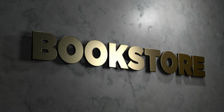 Bookstore - Gold text on black background - 3D rendered royalty free stock picture. This image can be used for an online website banner ad or a print postcard Royalty Free Stock Photo