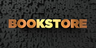 Bookstore - Gold text on black background - 3D rendered royalty free stock picture. This image can be used for an online website banner ad or a print postcard Royalty Free Stock Photography