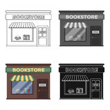 Bookstore icon in cartoon style isolated on white background. Library and bookstore symbol stock vector illustration. Bookstore icon in cartoon design isolated Royalty Free Stock Images