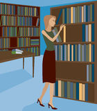 Bookstore or Library 1. Woman in a bookstore or library, selecting a book from the shelf Royalty Free Illustration