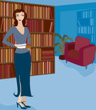 Bookstore or Library 2. Woman holding books and browsing or working in a library or bookstore Stock Illustration