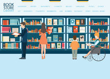 Bookstore or library with bookshelves. Various character of people in Bookstore or library with bookshelves, adult and teenager, business people and wheel chair Royalty Free Stock Images