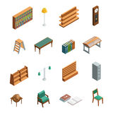 Bookstore Library Isometric Interior Elements Royalty Free Stock Photos