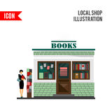 Bookstore mall. Books shop building. Woman silhouette with a book. A lot of books in a shop window. Library. Education market. Cute architecture facade. flat Stock Images