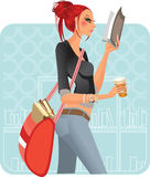 At the bookstore-redhead Stock Image