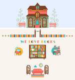 Bookstore set  with Exterior, Interior Elements Royalty Free Stock Images