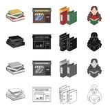A bookstore, a stack of books in the library, a folder with a sticker, a girl with a book. Library set collection icons Royalty Free Stock Photo