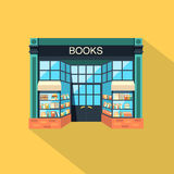 Bookstore. Store building in flat design style. Bookstore. Books, science, knowledge. Store building flat icon with a long shadow. Storefront and a shelf with Stock Photos