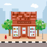 Bookstore and trees on the background of the city. Illustration in a flat style. Vector, EPS10. Bookstore and trees on the background of the city. Illustration Royalty Free Stock Images