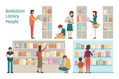 Bookstore. Vector illustration of bookstore, library, bookshelf, various character of people, diverse and multi-ethnic, adult and teenager,  and book. Flat Stock Photos