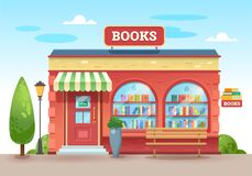 Free Bookstore With A Visor Above The Entrance. Books In A Shop Window On Shelves. Street Shop. Vector Illustration, Flat Style. Royalty Free Stock Photos - 189625888