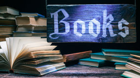 Bookstore wood sign Stock Images