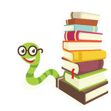 Bookworm. Visible from the colored books bookworm Royalty Free Stock Photo