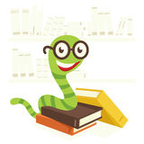 Bookworm. Visible from the colored books bookworm Royalty Free Stock Image