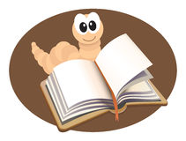 Bookworm. Cartoon illustration of a bookworm reading a book royalty free illustration