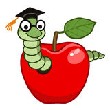 Bookworm in apple Royalty Free Stock Photos