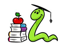 Bookworm book teaching cartoon Royalty Free Stock Image