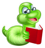 Bookworm Cartoon. Cute smiling green cartoon caterpillar worm bookworm with glasses reading a book stock illustration