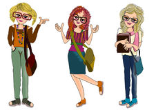 Bookworm club college girls. Bookworm club college, smart girls cartoon isolated Royalty Free Stock Image