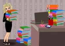 Bookworm college girl. Bookworm club college, smart girl cartoon isolated royalty free illustration