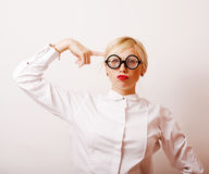 Bookworm, cute young blond woman in glasses, blond hair, teenage Royalty Free Stock Photos