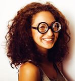 Bookworm, cute young woman in glasses Stock Images