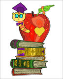 Bookworm doodle Royalty Free Stock Photography