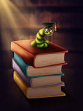 Bookworm with glasses. On a stack of books Stock Image