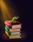 Bookworm with glasses. On a stack of books royalty free illustration