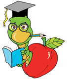 The Bookworm. Illustration cartoon of a worm as a Bookworm character in colorful stock illustration