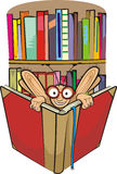 Bookworm and library. Thirsty for knowledge, well-read student, book lover Royalty Free Stock Photo