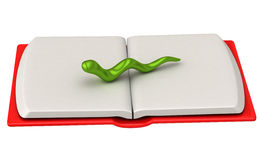 Bookworm on open book 3d. Abstract 3d bookworm on open book with white pages and red cover Stock Photo