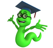 Bookworm with scholar hat. 3d rendering of a cartoon bookworm with arms out Stock Images