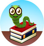 Bookworm. Smiling Bookworm standing over threee books,  illustration Royalty Free Stock Image