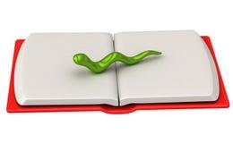 Bookworm sul libro aperto 3d Fotografia Stock