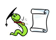 Bookworm teaching diploma cartoon Stock Image