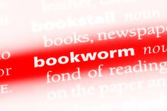 Bookworm. Word in a dictionary.  concept stock images