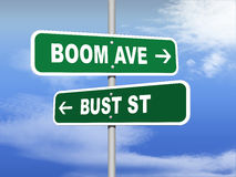 Boom Avenue Bust Street Road Signs Stock Image