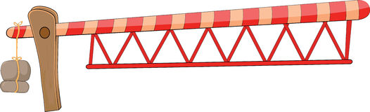 Boom barrier cartoon. It is red a yellow metal barrier Stock Image
