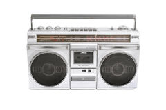 Boom box. Retro boom box radio on white royalty free stock photos